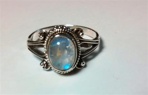 Handmade Ring - blue moon antiqued 925 sterling silver ring