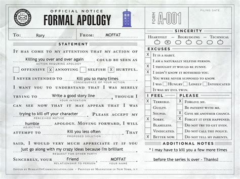 Apology Letter For Killing Someone Formal Apology To Rory From Moffat ღ Aberrant Rhetoric ღ