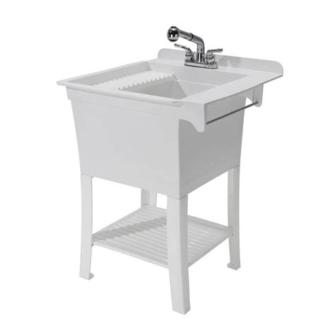 utility sink faucet shop cashel 25 375 x 25 75 white freestanding polypropylene laundry sink utility sink with drain