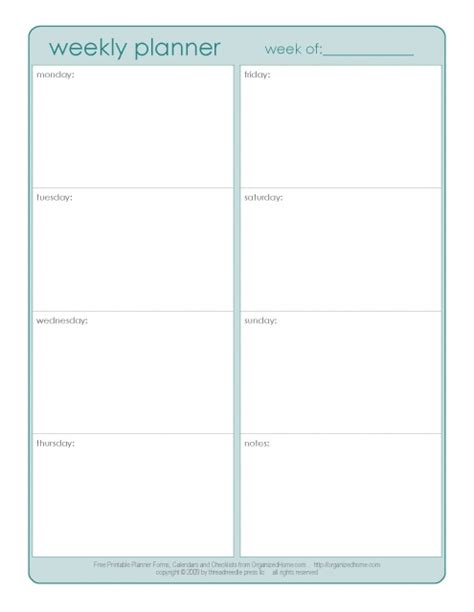 free printable weekly assignment calendar weekly planner 1 page printables pinterest