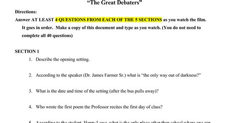 Great Or Question The Great Debaters Study Guide Docs