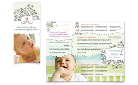 babysitting daycare tri fold brochure template word