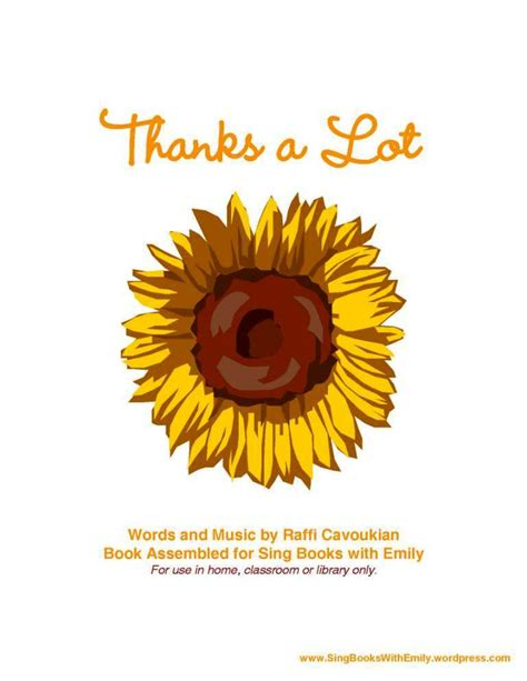 Thanks A Lot thanks a lot by raffi a singable picture book by eleg