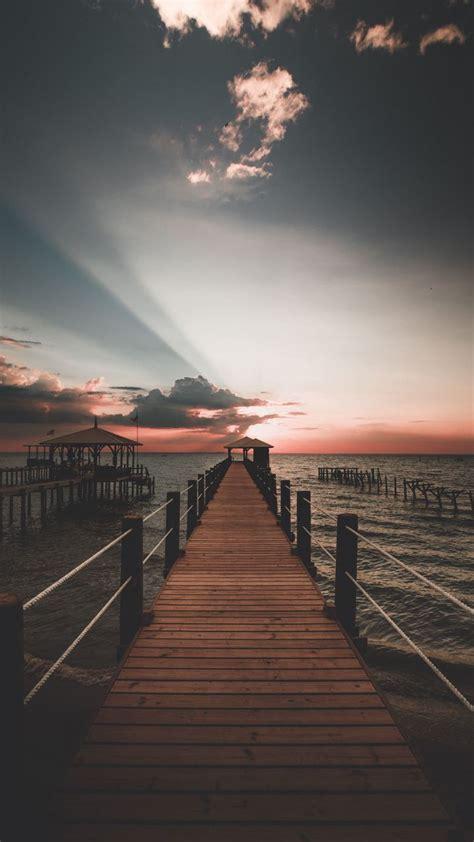 sunset skyline sea pier  wallpaper nature