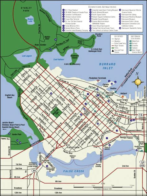 vancouver tourist map vancouver bc canada mappery