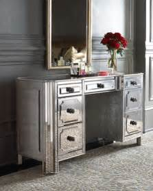 Mirrored Top Makeup Vanity Quot Logan Quot Mirrored Vanity Desk Traditional Bedroom