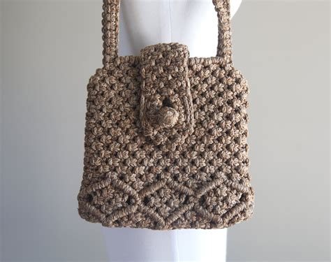 Macrame Bags - lovely vintage macram 233 shoulder bag purse 1960s 1970s
