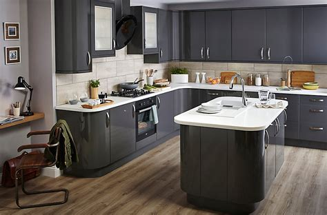 Curved Island Kitchen Designs by It Santini Gloss Anthracite Slab Diy At B Amp Q
