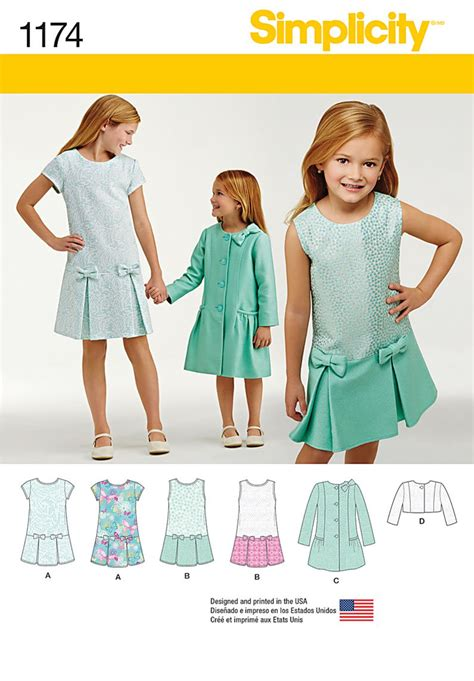 simplicity pattern website simplicity 1174 child s and girls dress coat and jacket