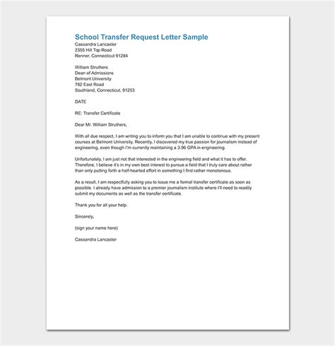 school transfer letter write format sample letters