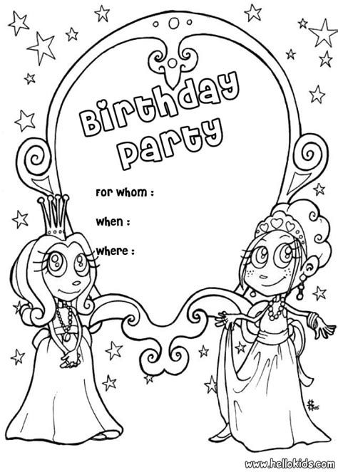 invitation card coloring page princess birthday party invitation coloring pages