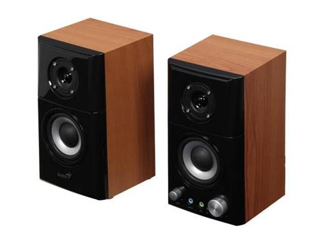 Speaker Genius genius hi fi wooden speaker 2 0 sp hf500a 14 w 2 0 hi fi wood speakers newegg