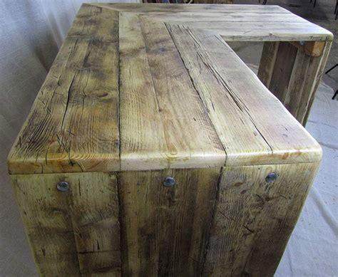 reclaimed wood corner desk corner desks chunky reclaimed furniture handmade in