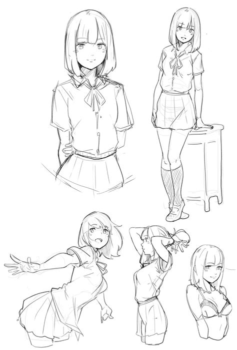 Sketches Poses by 5 твиттер 簡單插畫 Drawings Drawing Reference Drawing