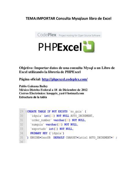 mysql a excel con php excel