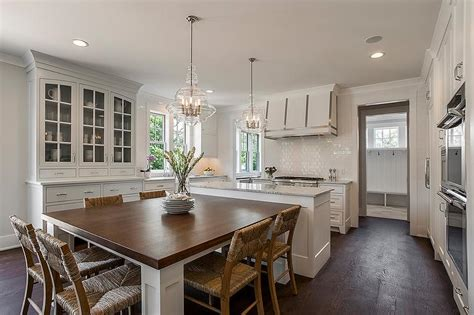 kitchen island with built in table gourmet kitchen transitional kitchen michael j siller interiors
