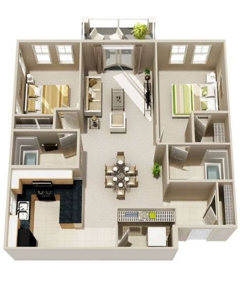 two bedrooms 2 bedroom apartment house plans