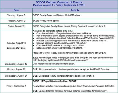 hr calendar template scdot hr payroll go live september 2 2011 187 south
