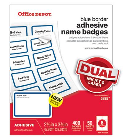 printable stickers office depot office depot brand name badge labels 2 13 x 3 38 blue