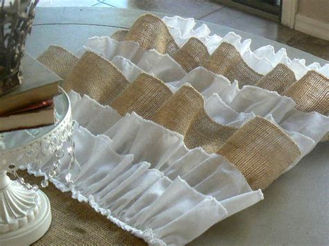 burlap ruffled table runner shabby chic rustic with burlap