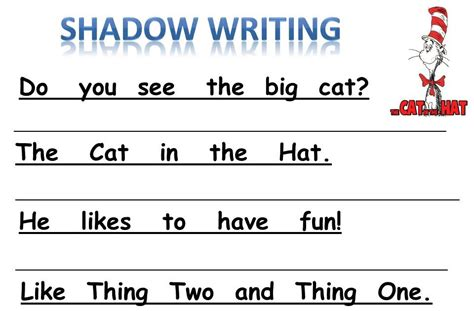 Cat In The Essay by For The Of Kindergarten Shadow Writing Cat In The Hat Freebie