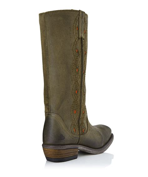 bullboxer olive green leather cowboy boots designer
