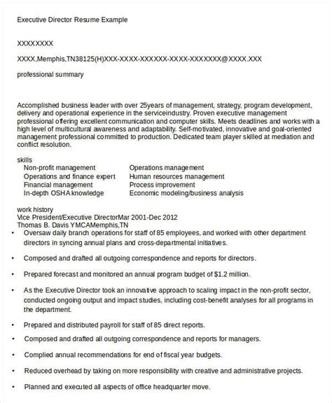 Resume For Executive Director by Executive Resume Templates 27 Free Word Pdf Documents