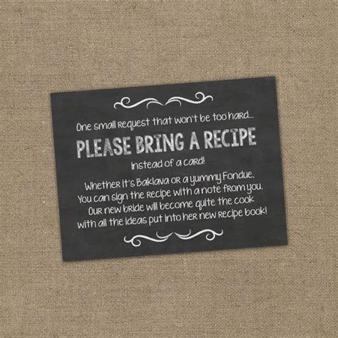 bridal shower recipe ideas bring a recipe instead of a card insert for bridal shower invitations cookbook gift