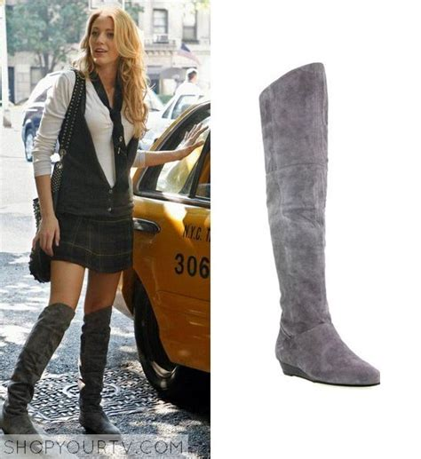 Found Serena Der Woodsens Grey Suede The Knee Boots by Serena Der Woodsen Lively Wears These Grey