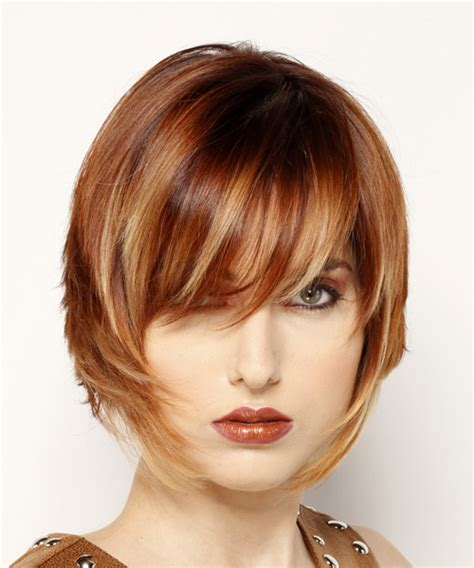 front view of side swept hairstyles short straight formal bob hairstyle with side swept bangs