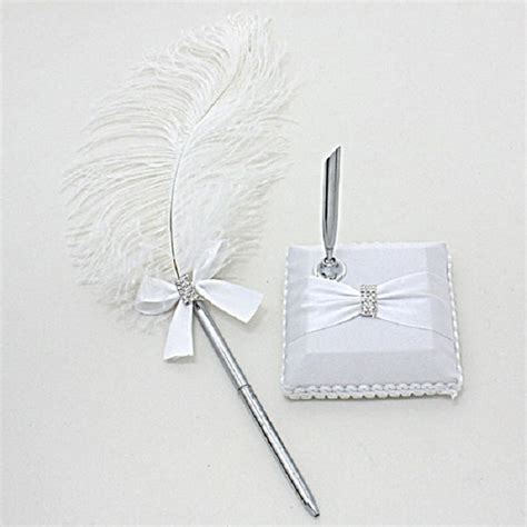 Bow Accent Pen feather and bow rhineston accent wedding guess