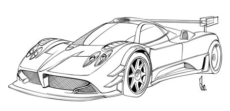 pagani drawing pagani zonda r drawing sketch coloring page