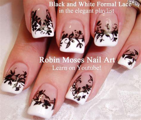 nail art white tutorial robin moses nail art black and white nail art design