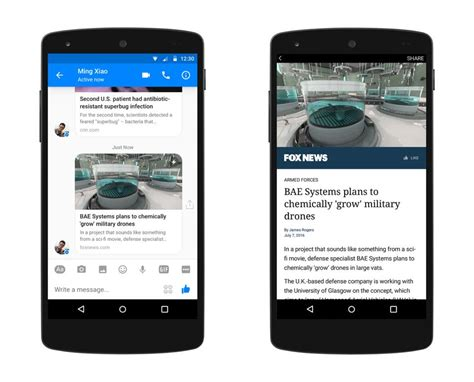 messenger brings instant articles to android