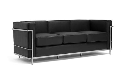 Le Corbusier Leather Sofa Le Corbusier Modern Black Leather Sofa Stainless Steel Frame Mid Century Design Ebay
