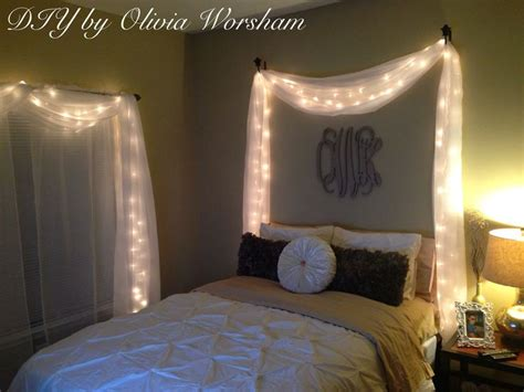 Lights And Draping Bedroom String Lights With White Sheer Drapes Diy By