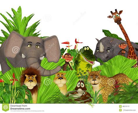 imagenes en 3d de animales salvajes animales salvajes de la selva de la historieta 3d stock de