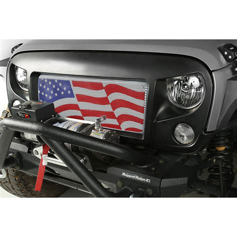 american flag jeep rugged ridge 12034 32 spartan grille with american flag