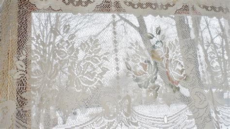 victorian lace curtains pair vintage victorian rose shabby cottage chic ivory lace