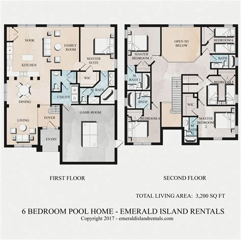 island resort floor plans emerald island 6 bed vacation villa floor plan