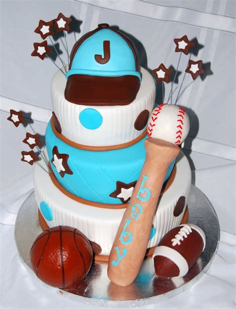 Sports Theme Baby Shower Cake by Leelees Cake Abilities Sports Theme Baby Shower Cake