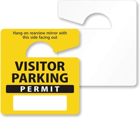 hanging parking permit template free mirror hang tag yellow