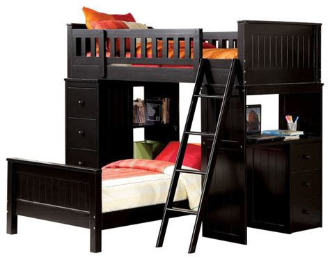 Loft Bed With Drawers And Desk by Black Finish Wood Loft Bunk Bed Set With Desk And Drawers