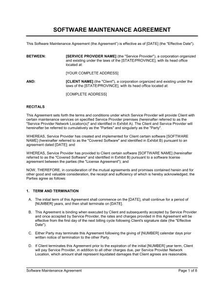Software Maintenance Agreement Template Word Pdf By Business In A Box Pricing Contract Template