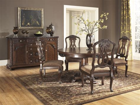 ashley dining room north shore round pedestal dining room set ashley