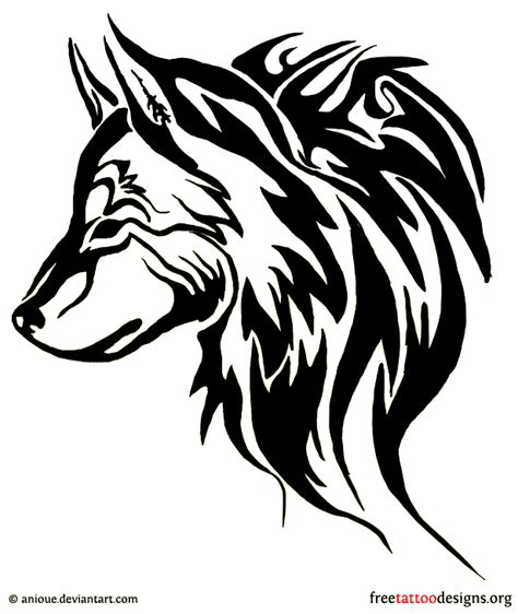 tribal wolf head howling