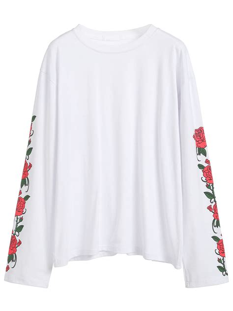 print sleeve t shirt print sleeve t shirt shein sheinside