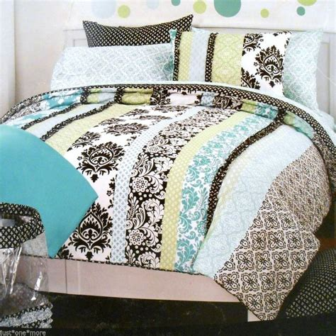 Twin Xl Comforter 9pc Set Cynthia Rowley Dorm Aqua Black Cynthia Rowley Bedding Xl