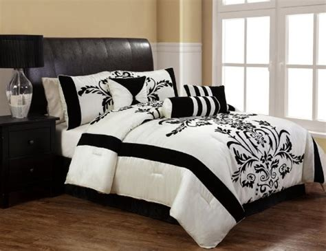 black and white comforter sets queen 7pcs queen salma black and white flocking comforter set