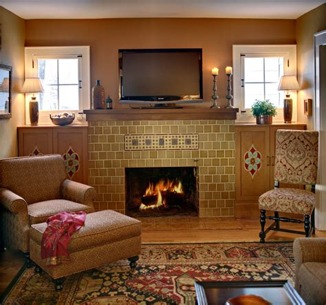 Interior Design Fireplace Living Room by Mission Style Fireplace Living Room Eclectic With Accent